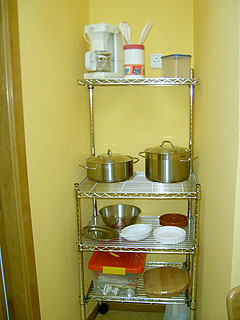Storage rack in kitchen