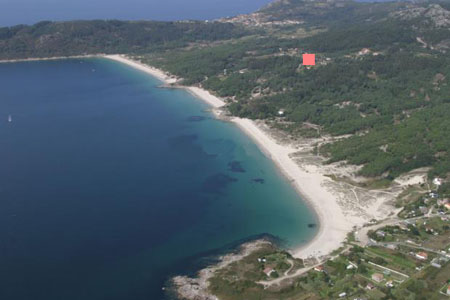 Aerial view of Nerga, Viñó and Barra beaches and location of house