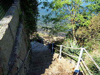 Stairs to private beach and sea